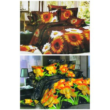 Set of 2 Floral 3D Printed Bedsheet with 4 Pillow Covers-DWCB-471_33