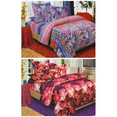 Set of 2 Floral 3D Printed Bedsheet with 4 Pillow Covers-DWCB-475_76