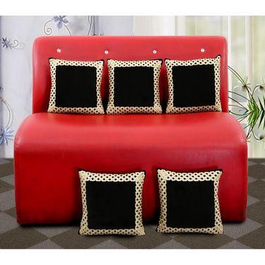 Dekor World Royal Zari Work Cushion Cover(Pack of 5)-DWCC-12-149-5
