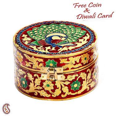 Red & Golden Floral & Peacock Design Multiutility Box