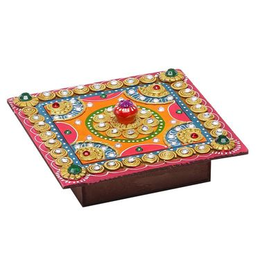 Square Hand painted Decorative Wood and Clay work box