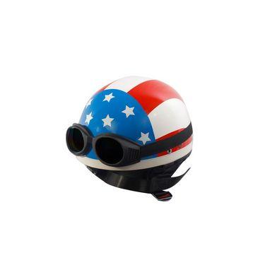 Autofurnish (EL-1101) Elegant Helmet with USA Flag Graphics with Goggles-EL-1101