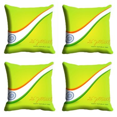 meSleep Multi Color Republic Day Cushion Cover (16x16) -EV-10-REP16-CD-011-04