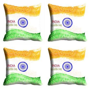 meSleep Multi India Republic Day Cushion Cover (16x16) -EV-10-REP16-CD-024-04
