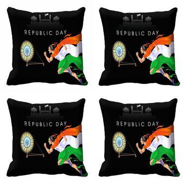 meSleep Black Republic Day Cushion Cover (16x16) -EV-10-REP16-CD-042-04