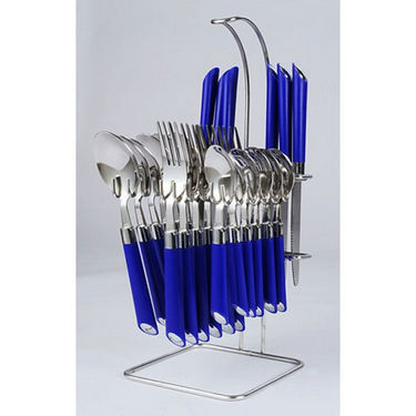 Elegante Expression 24Pcs Cutlery Set with Stand - Blue