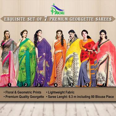 Exquisite Set of 7 Premium Georgette Sarees (7G16)