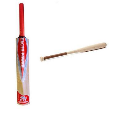 Facto Power Popular Willow Cricket Bat + Base Ball Bat