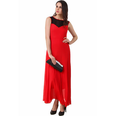 Fasense Power Net & Satin Solid Dresses  -FD001D2