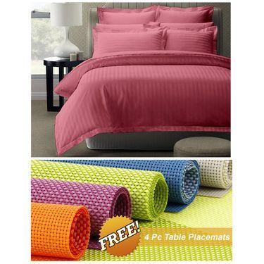 Storyathome Peach Satin Stripes King Size 1 Bedsheet + 2 Pillow Cover -FE2055_TT
