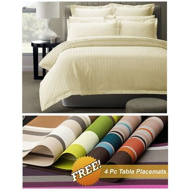 Storyathome Off White Satin Stripes King Size 1 Bedsheet + 2 Pillow Cover -FE2057_TT