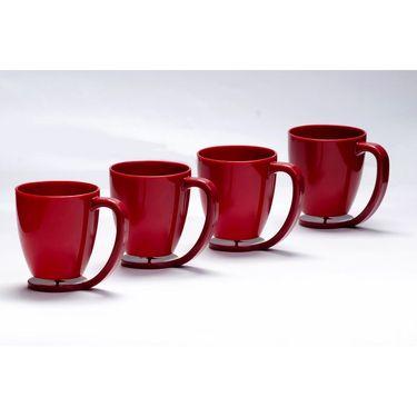 Kitchen Duniya Set of 4 Floating Mugs-Blossom Red