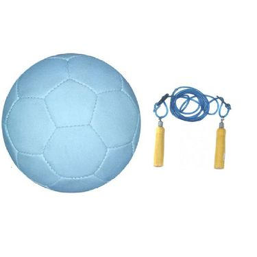 White (1111) Synthetic Football - Size 5 with Skipping Rope