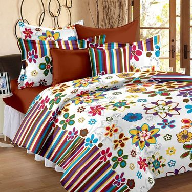 Bedspun 100% Cotton Double Bedsheet With 2 Pillow Cover-FR1404