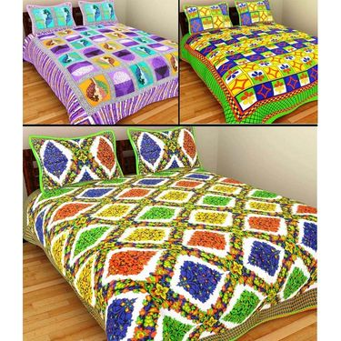 GRJ India Pure Cotton Multi Colour 3 Double BedSheet With 6 Pillow Covers-GRJ-3DB-71PL-67GRN-73BR