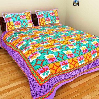 GRJ India Pure Cotton Multi Colour 4 Double BedSheet With 8 Pillow Covers-GRJ-4DB-69GRN-68PK-67PL-70GRL