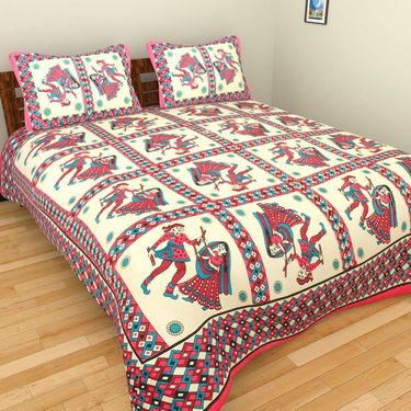 GRJ INDIA Pure Cotton Floral Print 8 Double BedSheet With 16 Pillow Covers-GRJ-8DB-577