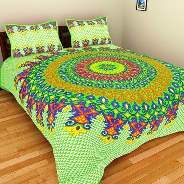 GRJ India Pure Cotton Multi Colour 8 Double BedSheet With 16 Pillow Covers-GRJ-8DB-72GRN-69OG-68OG-67PK-70RD-73GRN-68BL-71PK