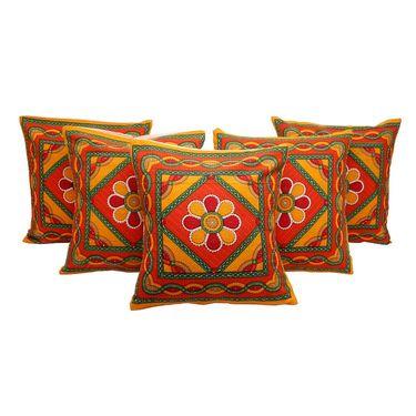 GRJ India Traditional Kantha Work  Rajasthani Print Cushion Cover Set-5 pcs-GRJ-CC-5P-25