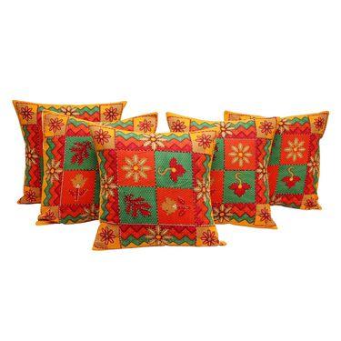 GRJ India Traditional Kantha Work  Jaipuri Print Cushion Cover Set-5 pcs-GRJ-CC-5P-31