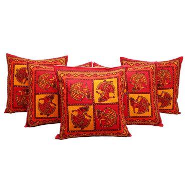 GRJ India Traditional Kantha Work  Elephant Print Cushion Cover Set-5 pcs-GRJ-CC-5P-32