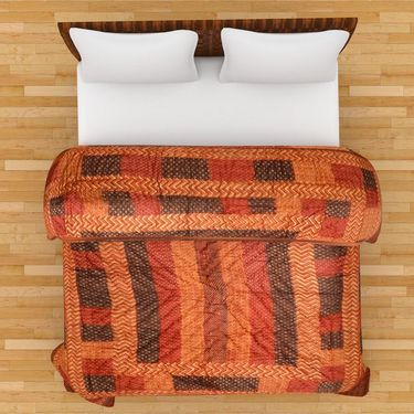 GRJ India Designer Printed Double Bed Quilt-GRJ-DQ-130