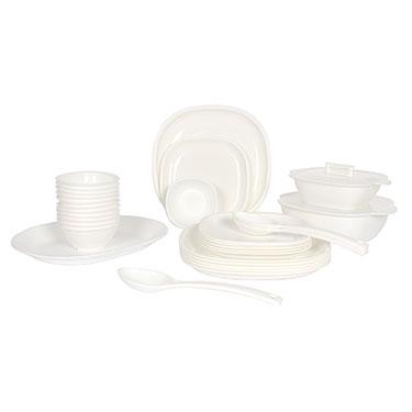 Gluman 32Pcs Microwave Safe Square Dinner Set - White