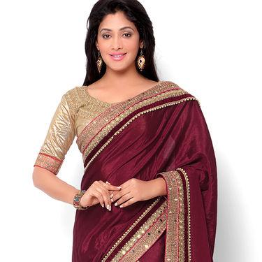 Indian Women Satin Chiffon Printed Saree -HT71004