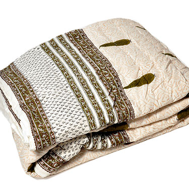 Little India Designer Printed Jaipuri Double AC Quilt - Brown & White Base