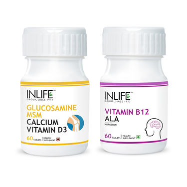 INLIFE Nerve Health Combo Pack Of Glucosamine, MSM, Calcium, D3, Vitamin B12 & ALA