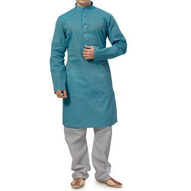 Ishin Cotton Kurta Pajama For Men_Indsh129 - Blue