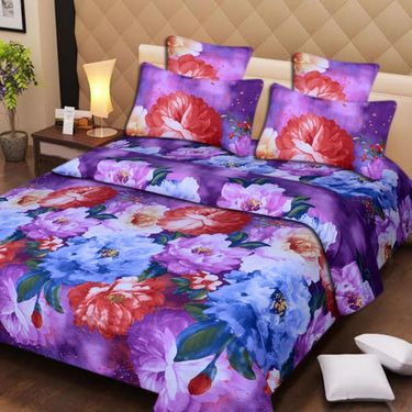 Set of 2 3D Printed Double Bedsheet with 4 Pillow covers -IWS-3d-46
