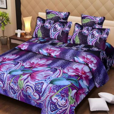 Set of 2 3D Printed Double Bedsheet with 4 Pillow covers -IWS-3d-50