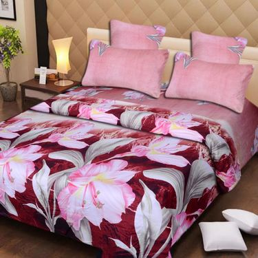Set of 4 3D Printed Double Bedsheet 8 Pillow covers-IWS-3d-64