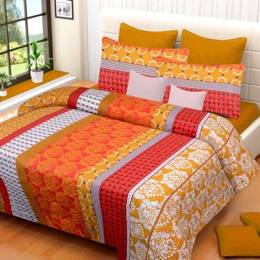 IWS Cotton Printed Double Bedsheet with 2 Pillow Covers-IWS-CB-1032