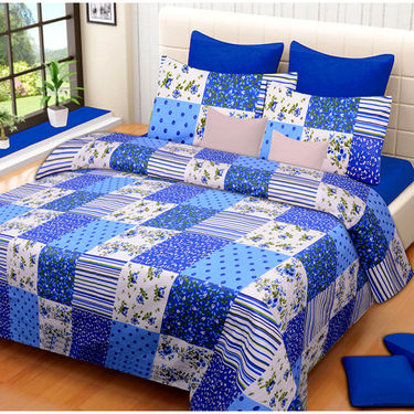 Set of 2 IWS Cotton Printed Double Bedsheet with 4 Pillow Covers-CB1348