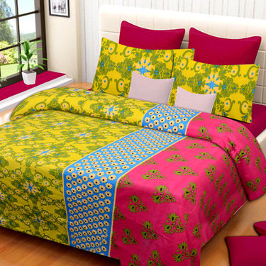 Set of 3 IWS Cotton Printed Double Bedsheet with 6 Pillow Covers-CB1373