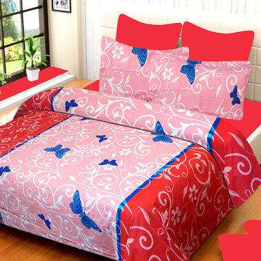 Set of 3 IWS Cotton Printed Double Bedsheet with 6 Pillow Covers-CB1379