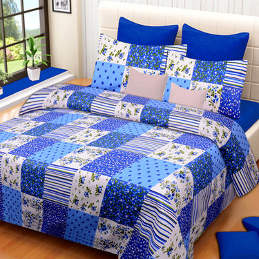 Set of 3 IWS Cotton Printed Double Bedsheet with 6 Pillow Covers-CB1388