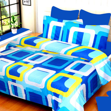 Set of 4 IWS Cotton Printed Double Bedsheet with 8 Pillow Covers-CB1416