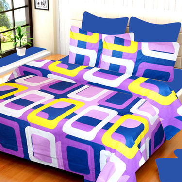 Set of 4 IWS Cotton Printed Double Bedsheet with 8 Pillow Covers-CB1444