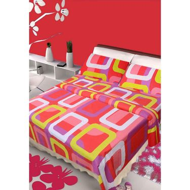 IWS Set of 2 100% Cotton Double Bedsheet with 4 Pillow Cover-IWS-CB-633