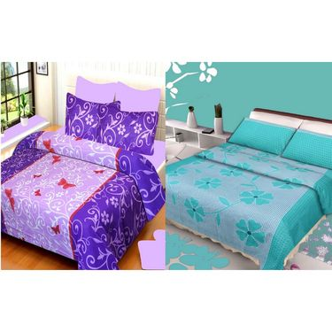 IWS Set of 2 100% Cotton Double Bedsheet with 4 Pillow Cover-IWS-CB-637