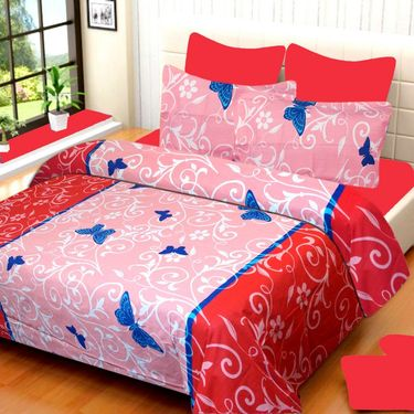 IWS Set of 2 100% Cotton Double Bedsheet with 4 Pillow Cover-IWS-CB-638