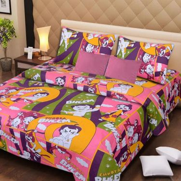 IWS Set of 2 Designer Cotton Kids Double Bedsheet with 4 Pillow cover IWS-CCB-27