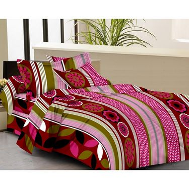 IWS Set of 4 Designer Double Cotton Bedsheet with 8 Pillow cover IWS-FCCB-51
