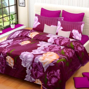 IWS Printed  Double Bedsheet with 2 Pillow Covers-IWS-NPrinted-09