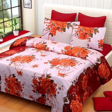 Set of 2 Printed  Double Bedhseets With 4 Pillow Covers-IWS-NPrinted-19