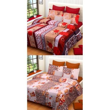 Set of 2 Printed  Double Bedhseets With 4 Pillow Covers-IWS-NPrinted-29