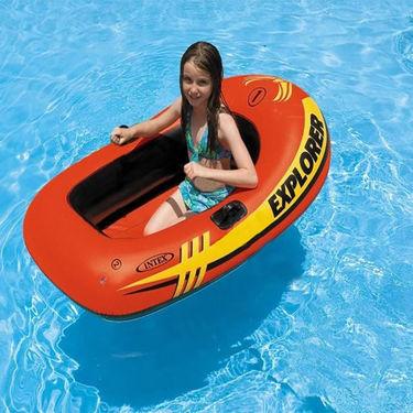 Intex  4.5 Feet inflatable Boat Explorer 100 with Mini Hand Pump